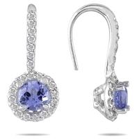 3/4 Carat TW Tanzanite and Diamond Earrings in 10K White Gold
