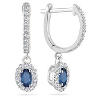 1/2 Carat Sapphire and Diamond Halo Dangle Earrings in 10K White Gold