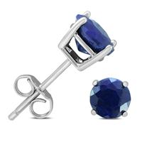 6mm September Sapphire Stud Earrings in .925 Sterling Silver