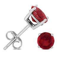 6mm July Ruby Stud Earrings in .925 Sterling Silver