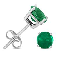 6mm May Emerald Stud Earrings in .925 Sterling Silver