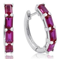4 1/2 Carat TW Emerald Cut Lab Created Ruby Hoop Earrings in .925 Sterling Silver