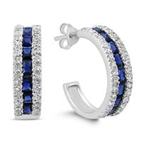 Lab Created Blue Sapphire and White Topaz Hoop Earrings in .925 sterling silver