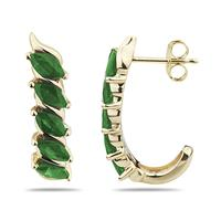 1.10 Carat TW Emerald Hoop Earrings in 10k Yellow Gold