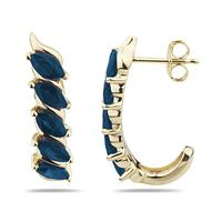 1.10 Carat TW Sapphire Hoop Earrings in 10k Yellow Gold
