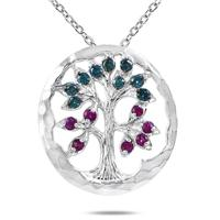 Ruby and Blue Diamond Tree of Life Pendant in 10K White Gold
