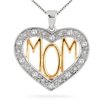 Diamond and White Topaz MOM Heart Pendant in 18K Gold Plated Sterling Silver
