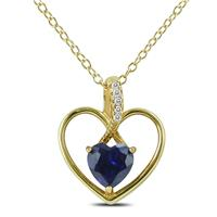 Sapphire and Diamond Heart Pendant in .925 Sterling Silver
