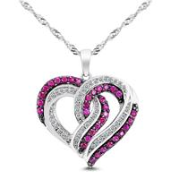 Lab Ruby and White Topaz Heart Pendant in .925 Sterling Silver