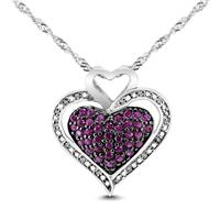 Lab Created Ruby and White Sapphire Pave Cluster Heart Pendant in .925 Sterling Silver