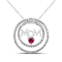 Lab Created Ruby and White Sapphire MOM Pendant in .925 Sterling Silver