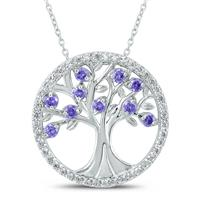 Amethyst and White Topaz Tree of Life Pendant in .925 Sterling Silver