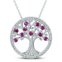 Lab Created Ruby and White Topaz Tree of Life Pendant in .925 Sterling Silver