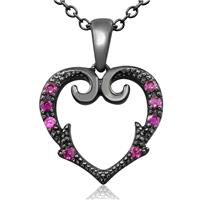 1/10 Carat TW Victorian Ruby Heart Necklace In Black Coated Sterling Silver, 18 Inches