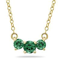 1 Carat TW Emerald Three Stone Pendant Necklace 14K Yellow Gold