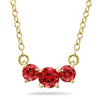 1 CTW Ruby Three Stone Pendant Necklace 14K Yellow Gold