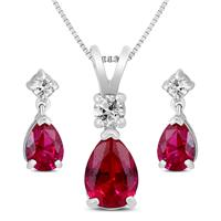 Created Ruby and White Topaz Pear Shaped Jewelry Ensemble in .925 Sterling Silver