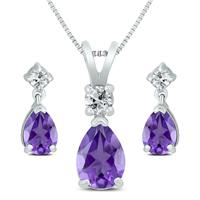 Amethyst and White Topaz Pear Shaped Jewelry Ensemble in .925 Sterling Silver