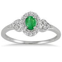 Emerald and Diamond Vintage Style Ring in 10K White Gold
