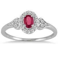 Ruby and Diamond Vintage Style Ring in 10K White Gold