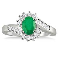 1 Carat Emerald and Diamond Flower Twist Ring in 14K White Gold