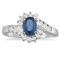 Sapphire and Diamond Royal Flower Twist Ring in 14K White Gold