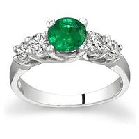 5 Stone Emerald and Diamond Ring