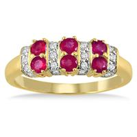 Six Stone Ruby and Diamond 14k Yellow Gold