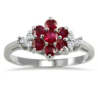 Diamond and Ruby Flower Ring
