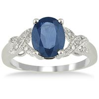 2.20 Carat Oval Sapphire and Diamond Ring in 10K White Gold