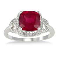 3.65 Carat Cushion Cut Ruby and Diamond Ring in 10K White Gold