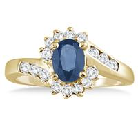 1 Carat Sapphire and Diamond Flower Twist Ring in 14K Yellow Gold