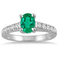 1 Carat Oval Emerald and Diamond Ring in 14K White Gold