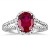 Split Shank Ruby and Diamond Halo Ring in 14K White Gold