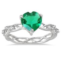 Created Emerald and Diamond Ring in .925 Sterling Silver
