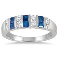Princess Cut Sapphire and White Topaz Ring in .925 Sterling Silver