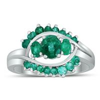 Deals on Genuine 1.75 Ctw Emerald Splendor Cocktail Ring In .925 Silver