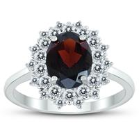Deals on Genuine Garnet And White Topaz Royal Halo Cocktail Ring