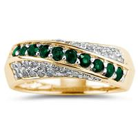 Emerald  and Diamond Ring 10k Yellow Gold