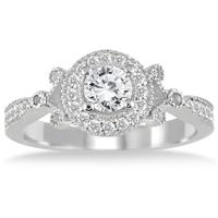 AGS Certified 3/4 Carat Diamond Engagement Ring in 14K White Gold (J-K Color, I2-I3 Clarity)