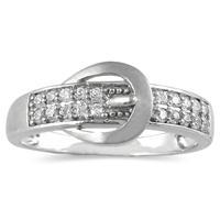 1/5 Carat TW Diamond Buckle Ring in 10K White Gold