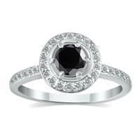 3/4 Carat TW Black and White Diamond Ring in 14K White Gold