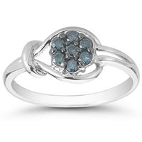 1/4 Carat TW Blue Diamond Love Knot Ring in 10K White Gold