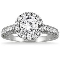 AGS Certified 1 1/2 Carat TW Halo Diamond Engagement Ring in 14K White Gold (H-I Color, I1-I2 Clarity)
