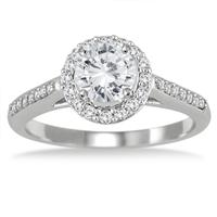 AGS Certified 1 Carat TW Diamond Halo Engagement Ring in 10K White Gold (I-J Color, I2-I3 Clarity)