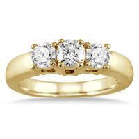 1 Carat TW Three Stone Diamond Ring in 10K Yellow Gold