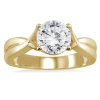 AGS Certified 1 Carat Diamond Solitaire Ring in 14K Yellow Gold (H-I Color, I2-I3 Clarity)