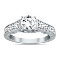 AGS Certified 1 1/2 Carat TW Antique Diamond Ring in 14K White Gold (H-I Color, I1-I2 Clarity)