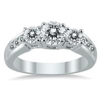 1 1/2 Carat TW Diamond Three Stone Ring in 10K White Gold