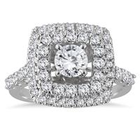 AGS Certified 1 5/8 Carat TW Diamond Engagement Ring in 14K White Gold (J-K Color, I2-I3 Clarity)